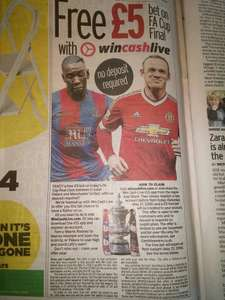 FREE £5 bet on the Manchester United V Crystal Palace FA cup final, NO DEPOSIT - Daily Mirror offer