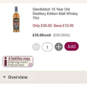 Glenfiddich 15 year old distillery edition malt whisky 70cl £35 in Sainsburys In store and online.