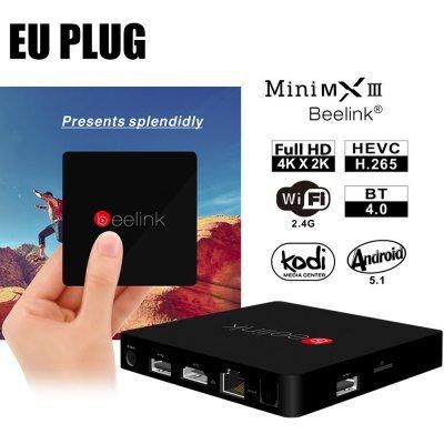 Beelink MiniMXIII TV Box 1000M LAN - EU PLUG  BLACK 4K H.265 Amlogic S905 Quad Core 64-bit WiFi Bluetooth HDMI Support AirPlay DLNA, £29.93 With Code @ Gearbest