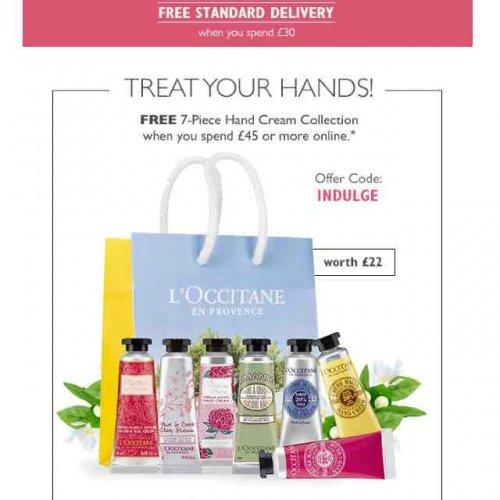 Loccitane free 7 piece hand cream with £45 spend