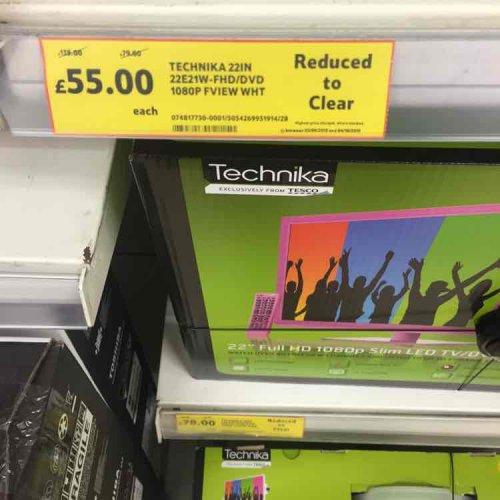 Technika 22 HD LED TV/DVD white £55 Tesco instore