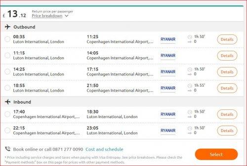London  – Copenhagen  return trip at £13.12 @ Opodo