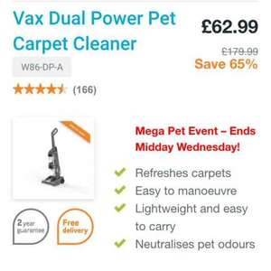 Vax Dual Power Pet Carpet Cleaner W86-DP-A £62.99 Vax