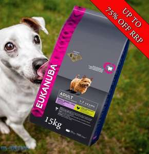 Eukanuba small breed dog foods 15kg £14.50 @ In-Excess.com