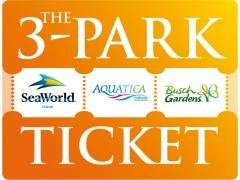 3 PARK SEAWORLD, AQUATICA AND BUSCH GARDENS TICKET 3 PARKS FOR THE PRICE