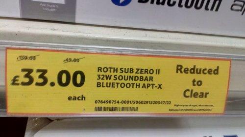 Roth Sub Zero II 32W Soundbar with Bluetooth APT-X  £33 at TESCO GOODMAYES