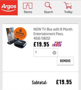 NOW TV Box with 6 Month Entertainment Pass @ Argos £19.95