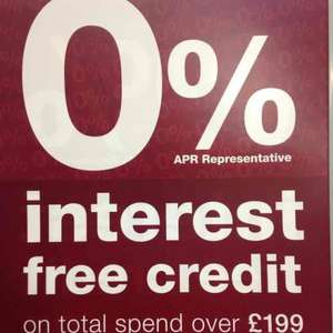 0% interest free credit on spend over £199 @ Halfords