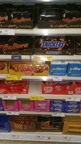 snickers x 9, mars x 9, Twix x 7, bounty x 7 bars, ripple x 7 £2 @ Tesco