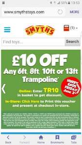 £10 off any 6ft, 8ft, 10ft or 13ft Trampoline @ Smyths using code