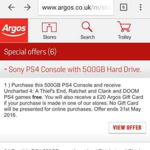 PS4 black 500gb + doom + ratchet & clank + uncharted 4 + £20 voucher £299.99 when bought in store at Argos