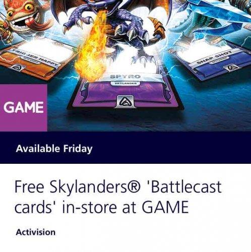 Free Skylanders® 'Battlecast cards' in-store at GAME