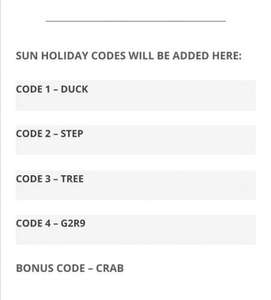 SUN HOLIDAYS CODES holidays starting from £9.50