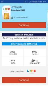 ĺife mobile 2000 mins -5000 texts - 2gb data £9.45 30 day contract