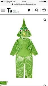 Dinosaur kids fancy dress costume from £4.50 at sainsburys (plus £3.95 delivery)
