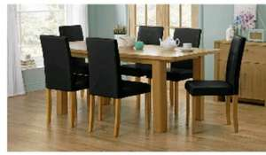 Pemberton Oak Effect Dining Table & 6 Black Chairs. £169.99 + £6.95 delivery + you get £10 voucher on £100 spend @ Argos