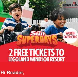 2 Free Windsor Resort Legoland tickets with 10 sun codes!