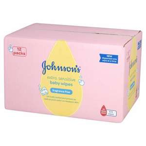 Johnson's Baby Extra Sensitive Fragrance Free Wipes - Pack of 12, Total 672 Wipes - £7.60 delivered @ Amazon (Subscribe & Save)