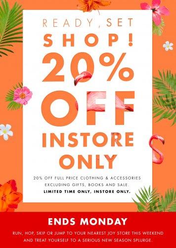 20% Off Instore at JOY!