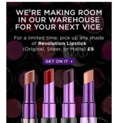 Urban Decay lipsticks for £9 @  Urban Decay