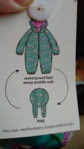Boots mini club waterproof fold away puddle suit £1