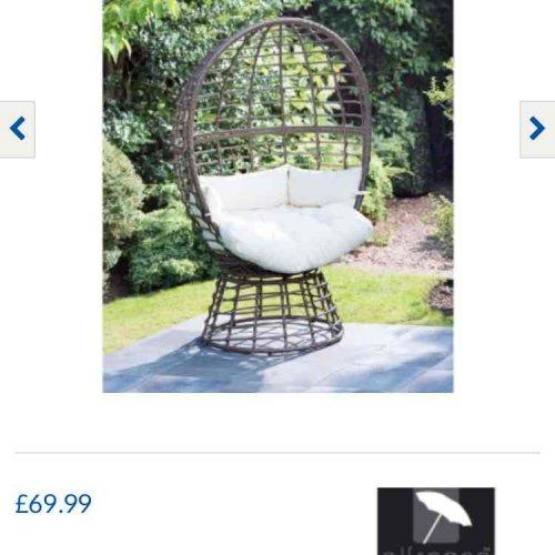 garden egg chair £69.99 @ B&M