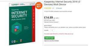 Kaspersky Internet Security 2016 (3 Devices) Multi Device £14.89 delivered @ Costco