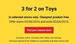 3 for 2 on Toys at Tesco (selected stores) 02.06.16-03.06.16