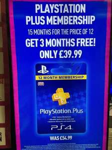 PlayStation Plus 15 months for the price of 12 months (£39.99) @ Game