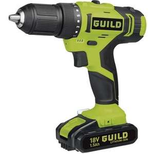 GUILD 18v cordless drill driver with 2 batteries and 2 year guarantee just £34.99 at Homebase (£49.99 at Argos).