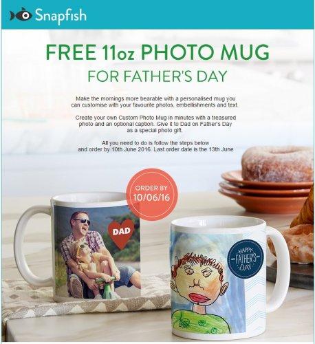 Free Snapfish 11Oz Photo Mug for Father's Day - (Postage of £2.99 applies)