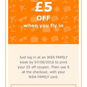 Free £5 voucher with IKEA Family with no minimum spend. Probably account specific.