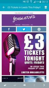 £3 Jongleurs comedy night tickets at Leeds tonight - normally  £16.50!