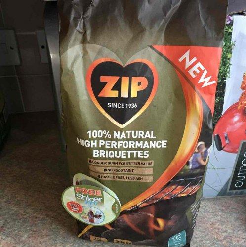 ZIP 100% natural high performance briquettes 2kg plus bottle of Shloer light 750ml £3.50 @ Tesco