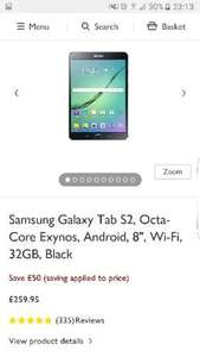 Galaxy Tab S2 8inch 32gb £259.95 @ John Lewis