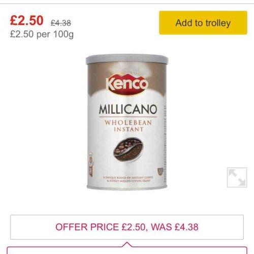 Morrisons - Kenco Millicano Instant Coffee 100g £2.50