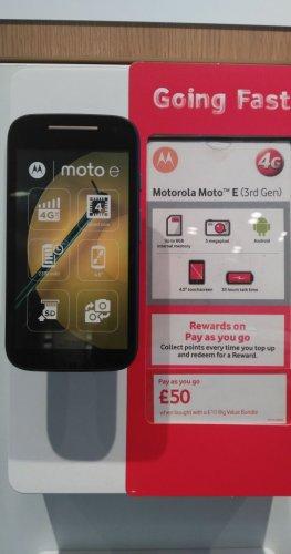 Moto E (3rd Gen) £50 vodafone store