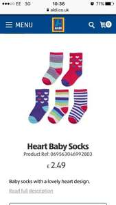 Baby socks £1.49 for 5 pairs @ ALDI