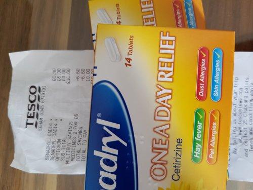 Benadryl Cetrinzine One a Day - 14 tablets - 2 packs for £6. Tesco