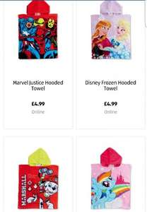 Hooded towel (Marvel, Paw Patrol, Frozen and MLP) available to pre order at Aldi online £4.99