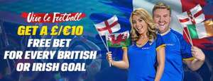 Coral Euro 2016. £10 free bet each time a British or Irish Team Scores with £20 outright bet. Existing Customers via Email.
