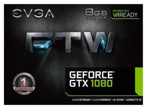 EVGA NVIDIA GeForce GTX 1080 FTW Gaming with ACX 3.0 Cooling 8 GB GDDR5X PCI Express 3 Graphics Card - Black £608.99 Delivered from Amazon