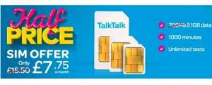 Existing Customers: TalkTalk Mobile SIM only - 2.1gb (triple data), 1000 mins, Unlimited Texts (12mth Contract) £7.75 per month