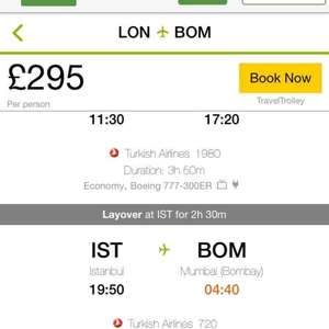 London to Mumbai £295 @ Turkish Airlines via Tripadvisor