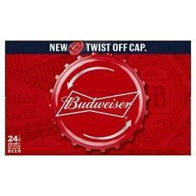 24 bottles of Budweiser with twist off caps £12 (50p a bottle) @ Asda