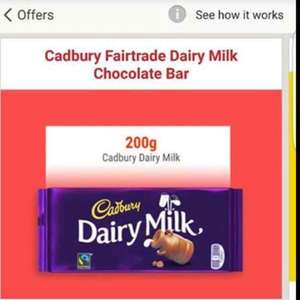 Shopitize freebie! 200g bar of Cadburys Dairy Milk £2.00 ( available to selected members- sorry!)