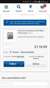 Hive Active Heating & Hot Water Thermostat £60 off @ Screwfix. Makes its £118.99.