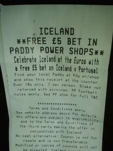 Free £5 Paddy Power bet for the Iceland v Portugal match when you shop instore in Iceland