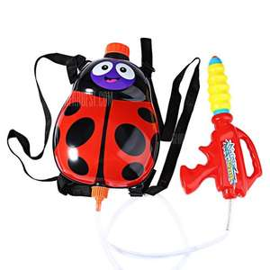 Kids Cute Ladybird Backpack Pressure Pump Squirt Gun  -  RED - Outdoor Super Soaker Blaster Toy £4.30 With Free Delivery - Gearbest