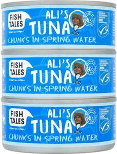 Fish Tales Ali's Tuna Chunks in Spring Water / Sunflower Oil / Brine (3 x 160g = drained 3 x 112g) was £4.99 now £2.49 @ Waitrose